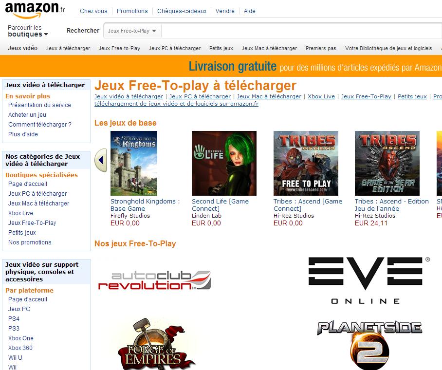 Amazon.fr ouvre sa plateforme de téléchargement de jeux-video