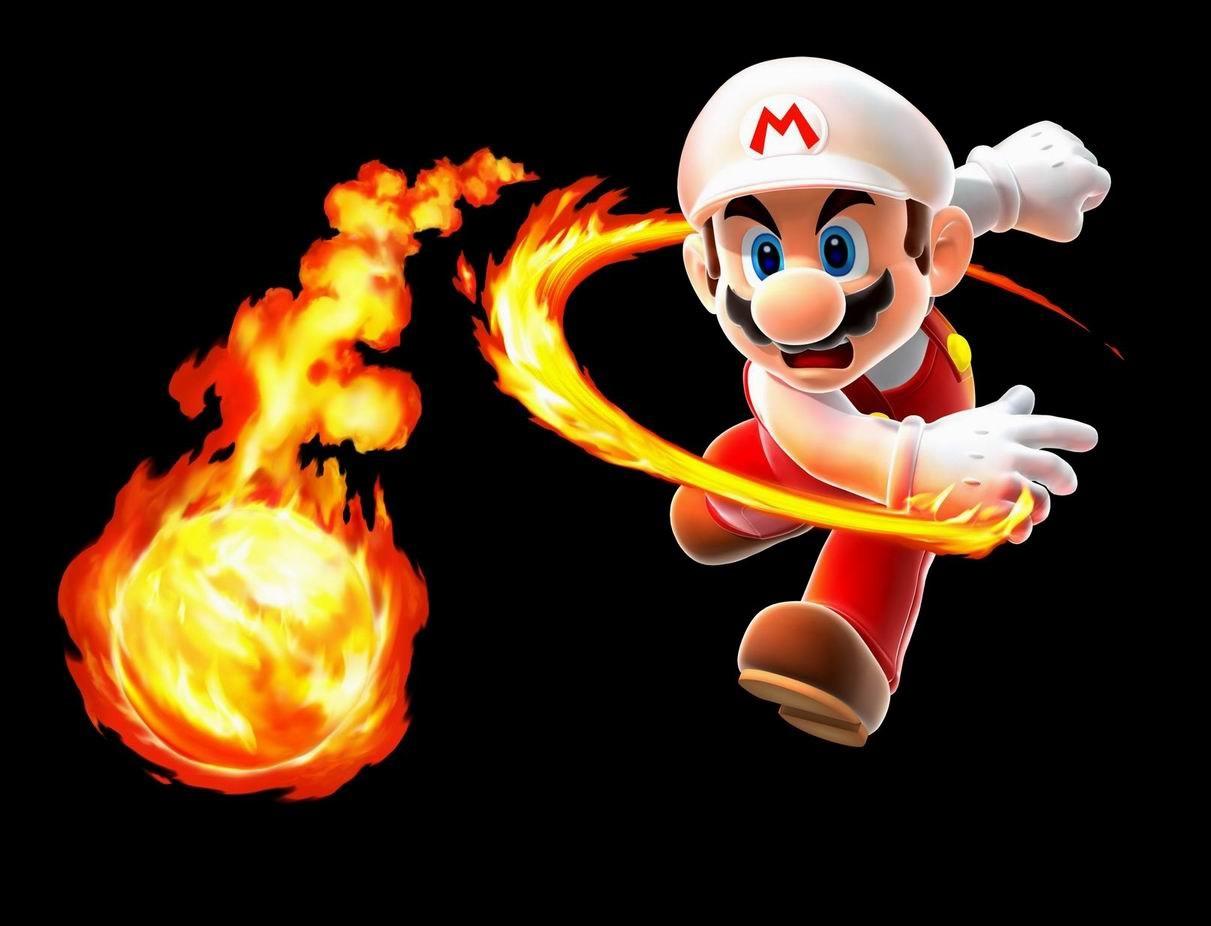 Fond d ecran mario boule de feu fond noir jeux video info for Super fond ecran