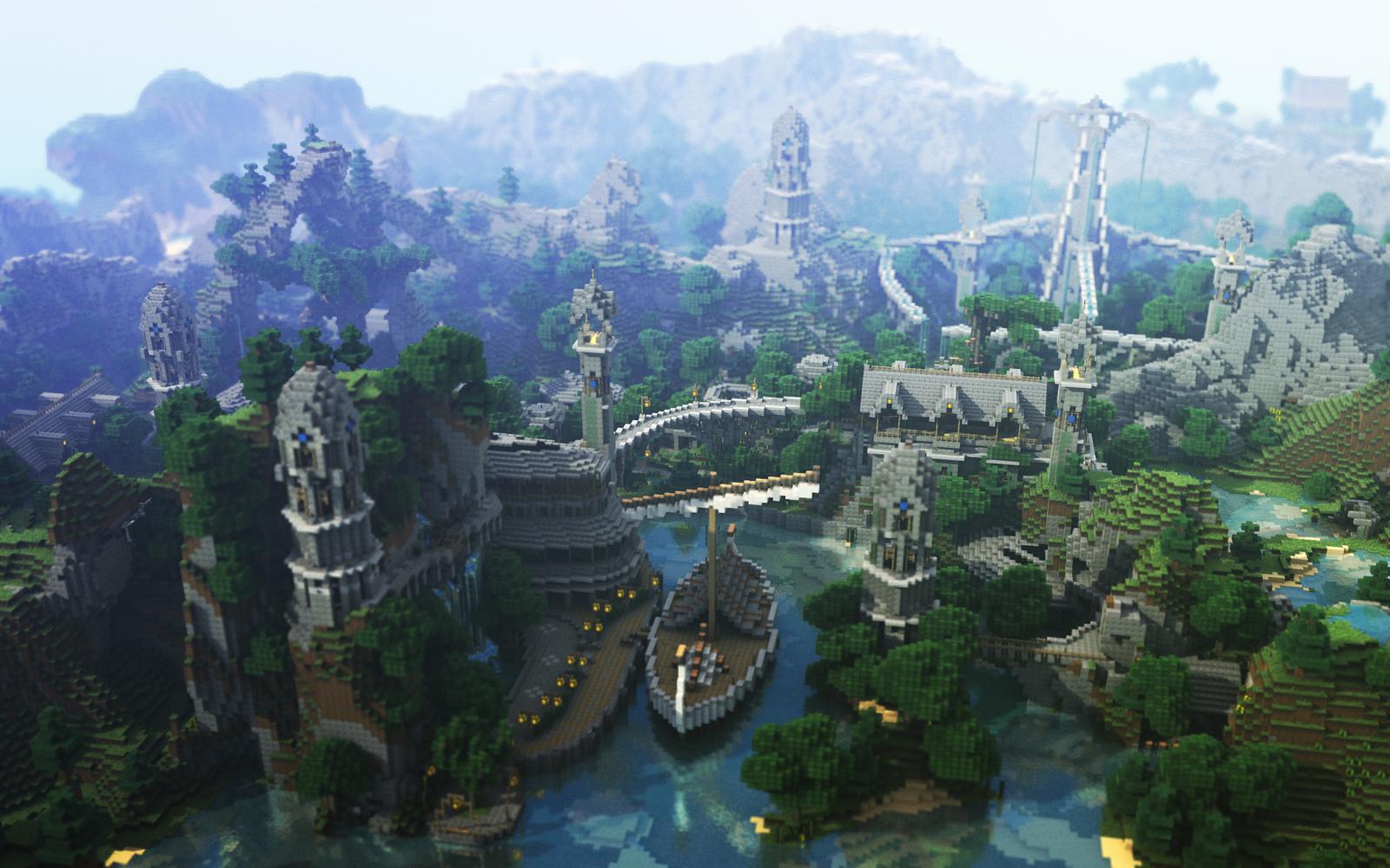 Minecraft wallpaper paysage hxe3 village montagne jeux for Paysage wallpaper