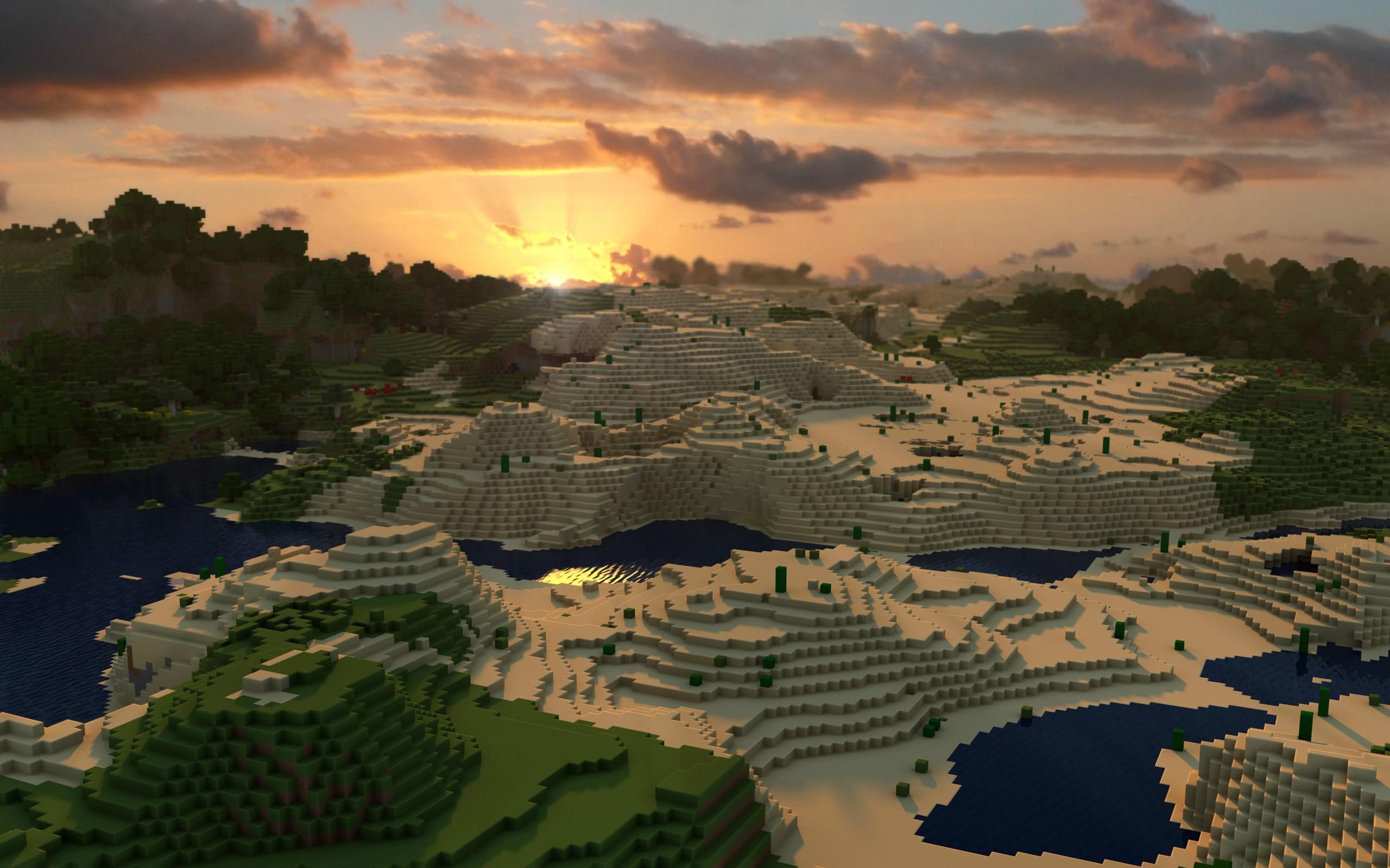 Minecraft wallpaper paysage desert jeux video info for Fond ecran hd 2016
