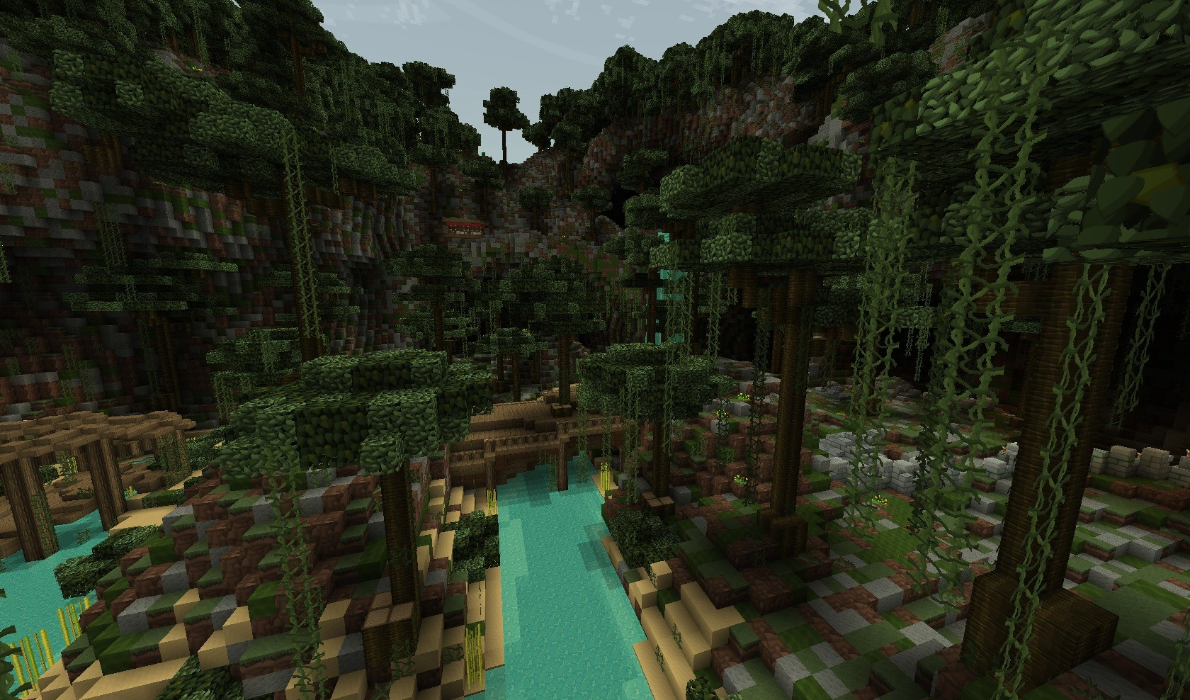 minecraft wallpaper paysage jungle jeux video info. Black Bedroom Furniture Sets. Home Design Ideas