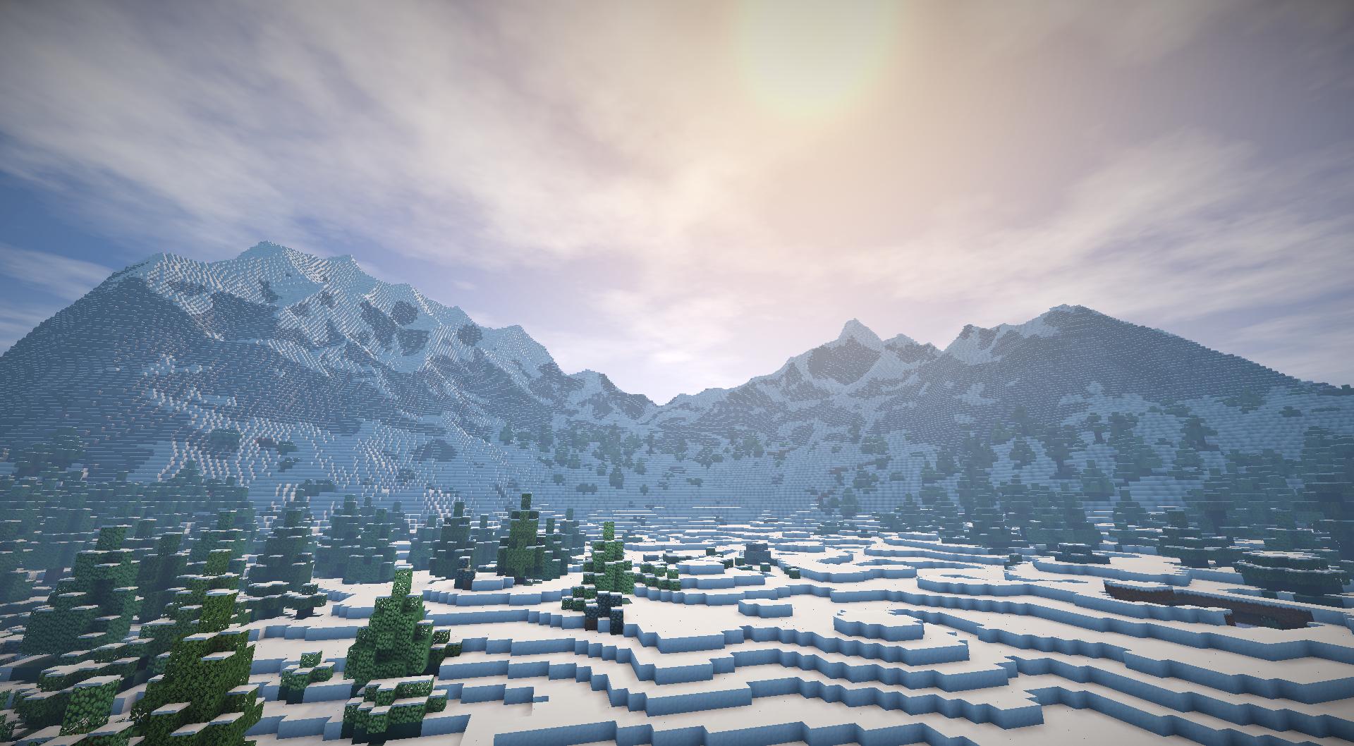 ... -montagne-neige [ Fond d'écran Minecraft Gratuit de paysage