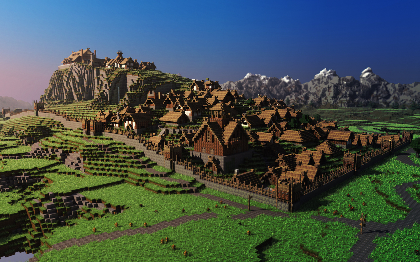 Minecraft wallpaper paysage ville viking jeux video info for Paysage de ville